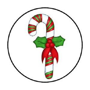 48 CHRISTMAS RED GREEN CANDY CANE ENVELOPE SEALS LABELS STICKERS 1.2quot; ROUND $2.25