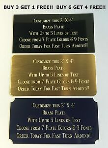 Custom Engraved Plate BRASS 2quot;x4quot; Name Plate Plaque Art Label Tag Gift Trophy