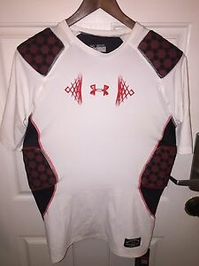 Under Armour MPZ Stealth Impact Padded Football Shirt WhiteRed 2 XL Reg $79.99