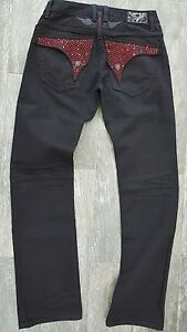 robin's jean MENS BLACKred EMBELISHED JEANS 100% AUTHENTIC MADE IN USA