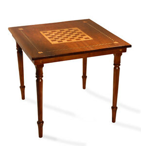 Folk Art Federal Antique Furniture Game Table Walnut & Maple Chess Card Table