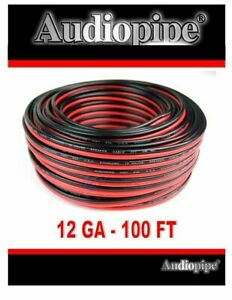 12 Gauge 100 Feet Red Black Stranded 2 Conductor Speaker Wire Cable Copper Mix $19.95