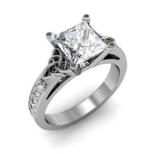 1.70 ct. Natural Princess Cut Celtic Knot Design Diamond Engagement Ring - GIA