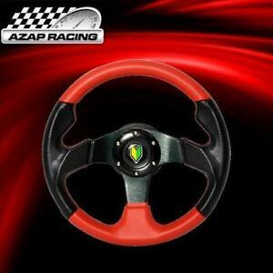 320MM Universal Steering Wheel 6 Hole Red+Black PVC Leather Caron Look BD