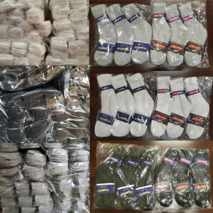 5~200 Dozens Wholesale Lots Men Solid Sports Cotton Crew Socks Gift Cheap Xmas