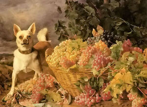 Ferdinand Georg Waldmüller - a dog by a basket of grapes in a landscape