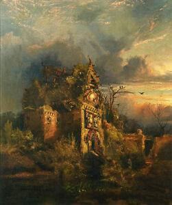 Art oil Thomas Moran Haunted House at sunset landscape no framed canvas 36quot; $69.99