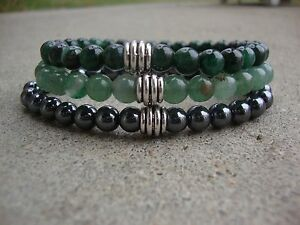 Men's Hemaylke Green Avent 6mm Beaded Stretch Bracelet Set of 3 Handmade USA