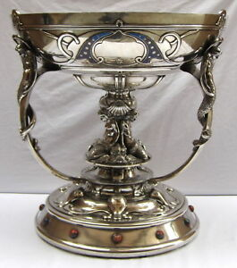 MAGNIFICENT KING  EDWARD7th   SCOTTISH ENAMEL STERLING CENTER PIECE  YACHT TROPY
