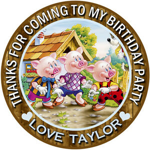 30 x Personalised Three little pigs Round 50mm 2