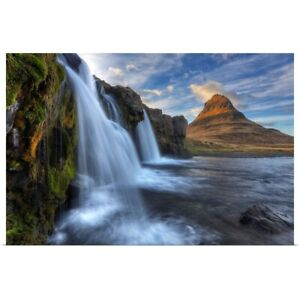 Mountain kirkjufell and waterfall Poster Art Print Mountain Home Decor