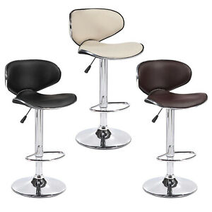 Bar Stools Set of 2 Counter Height Adjustable Leather Swivel Dining Chair