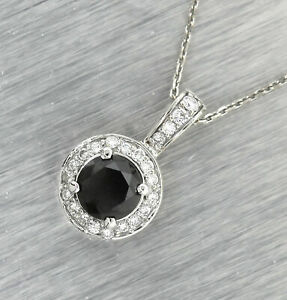 Stunning Ladies 14K 585 White Gold 2.72ctw Black Diamond Pendant Necklace