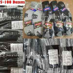 5~100 Dozens Wholesale Lot Men Athletic Crew Sports USA Logo Cotton Socks Black