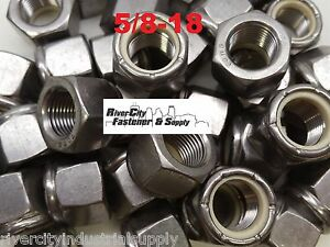 (6) 5/8-18 Stainless Steel Nylon Insert Lock Hex Nut  Fine Thread UNF 5/8x18