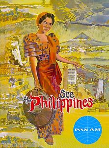See The Philippines Island Pan Am Air Vintage Travel Advertisement Art Poster $7.99