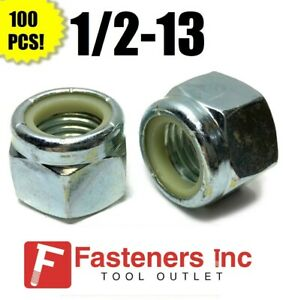 (Qty 100) 1/2-13 Nylon Insert Lock Nuts Nylock Zinc Plated (100 Pieces Total)