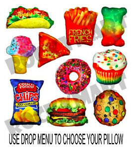 FOOD FIGHT PILLOW Novelty Throw -You Choose- Slumber Party Favor Gift RM3048