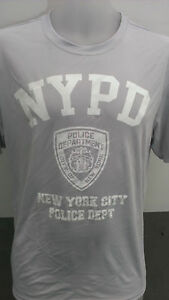 NYPD New York Police gray white print dry fit t shirts new with wicking tech $12.00