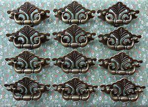 Set of 12 New Continental Brass Antique Brass Finish Wheat Drawer Swing Pulls $48.00
