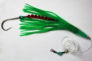 LOT OF 5 RIGGED GREEN MACHINE STYLE LURE SMACKER OFFSHORE TUNA MARLIN 9