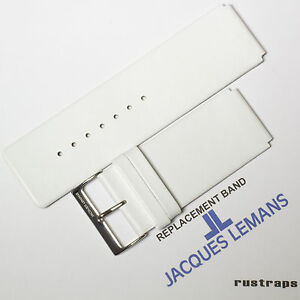 Original Jacques Lemans 26mm white leather watch band for 1 1251F model $28.00