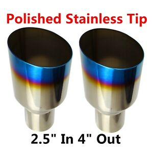 2X Blue Burnt Exhaust Single Layer Slant Tip Polished Stainless 2.5In 4Out $39.96