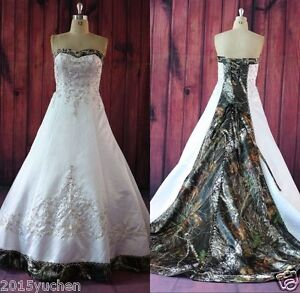 Camo Wedding Dresses Bridal Gowns A Line Embroidery Camouflage Satin Gown Custom