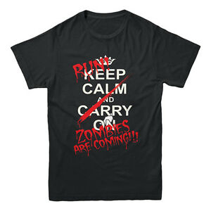 Keep Calm And Run Zombies Are Coming Walking Dead Inspired Funny Men's T-shirt