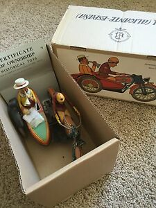 reproduction paya motorcycle side car wind up toy
