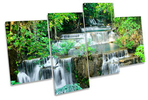 Cascading Tropical Waterfall MULTI CANVAS WALL ART Framed Panel