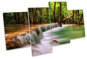 Forest Landscape Tropical River MULTI CANVAS WALL ART Framed Panel