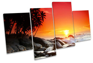 Sunset Tropical Beach MULTI CANVAS WALL ART Print Picture