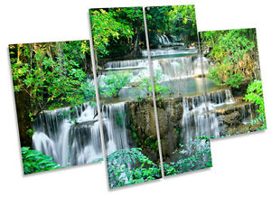 Cascading Tropical Waterfall CANVAS WALL ART MULTI Panel Picture Print