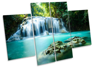 Paradise Waterfall Tropical Forest CANVAS WALL ART MULTI Panel Print Picture