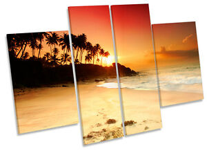 Sandy Beach Sunset Tropical Sun CANVAS WALL ART MULTI Panel Print Picture