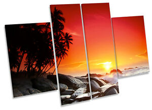 Sunset Tropical Beach CANVAS WALL ART MULTI Panel Print Box Frame