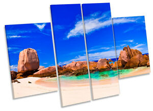 Tropical Beach Seascape CANVAS WALL ART MULTI Panel Print Box Frame