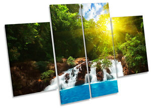 Tropical Forest Waterfall Sunset CANVAS WALL ART MULTI Panel Print Box Frame