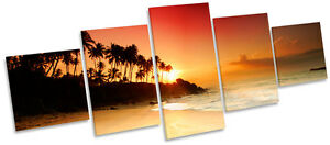 Sandy Beach Sunset Tropical Sun MULTI CANVAS WALL ART Picture Box Frame