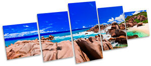 Sunset Beach Tropical Seascape MULTI CANVAS WALL ART Box Frame Picture