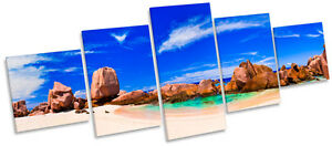 Tropical Beach Seascape MULTI CANVAS WALL ART Box Frame Picture