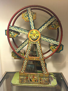borgfeldt nifty tin litho wind up toy ferris wheel