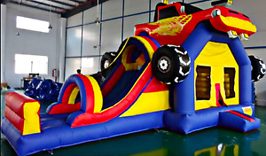 25x30x25 Commercial Inflatable Monster Truck Bounce House Water Slide Castle Car