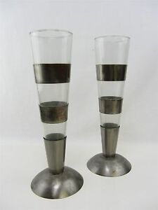 2 lot Decorative Vase or Drinking Glass w Resting Base Silver Bands Round botto