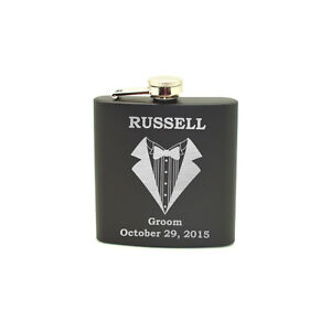 Personalized Groom's Gift, Black stainless steel flask, Wedding Gift
