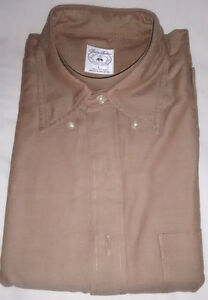 Men's Brooks Brothers Light Brown Textured Sport Shirt 100% Cotton Size Large L