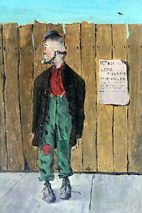 Antique Painting Oil on Board of a Hobo $175.00
