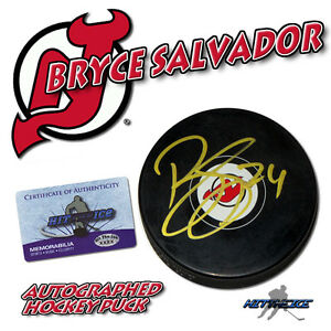 BRYCE SALVADOR Signed NEW JERSEY DEVILS Puck w COA $24.95