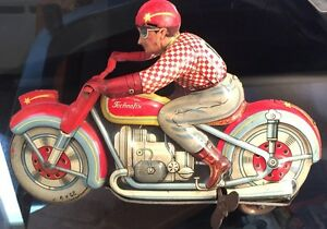 technofix windup tin toy motorcycle made in
